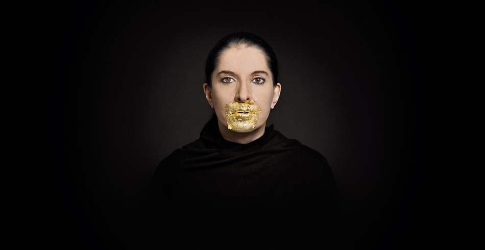 Marina Abramović. Portrait with Golden Lips Fine Art Print, Blattgold 24 Karat, 2009